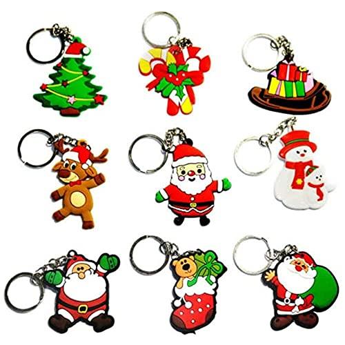 10 unids Navidad Llaveros Santa Claus Muñeco de Nieve Árbol de Navidad Colgante de Crujido Llavero Key Fob Clave Pendiente