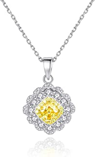 Gümüş Bayan Kolye 3 Sıra Taşlı Sarı Kare Kolye