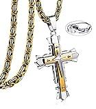 JeweBella Collar con Colgante Hombre Oro/ Negro Acero Inoxidable Colgante Cruz Cadena Bizantina Collar Cruz 56-76CM