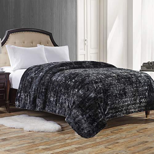 Manta Suave y Acogedor para Cama de Piel sintética a Sacar Calor vellón PV, Negro, 230cm×230cm
