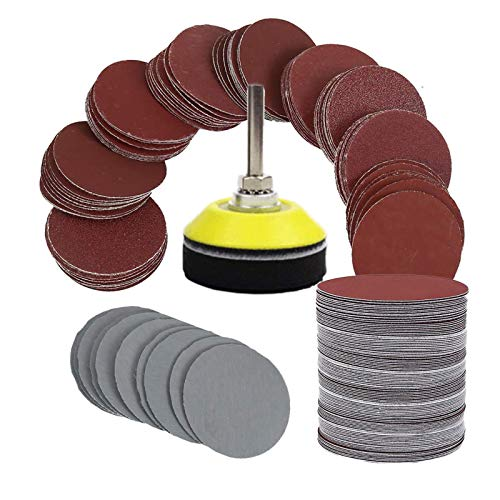 Sanding Discs Pads, bluesees 100pcs 2 inch Sanding Discs Sheets Pads Kit for Drill Grinder Rotary Tools with Backer Plate 1/4' Shank Includes 80,100,180,240,600,800,1000,1200,2000,3000 Grit Sandpaper