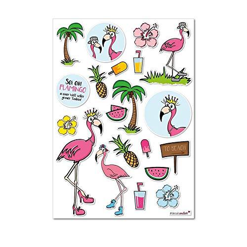 #detailverliebt 20 Flamingo Ik DV 240 Ik Din A4 Vel I Meisjes Tropische Laptop Sticker Meubilair Deur Scrapbooking School Tas voor Kinderen Verjaardag Party