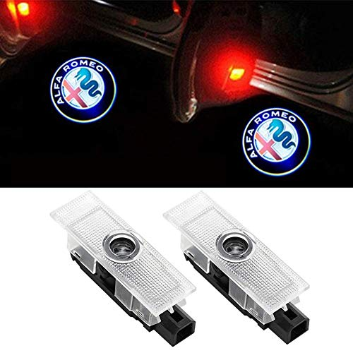 Car LED LOGO Door Lights Projector Ghost Lights puddle Welcome Emblem Lamp Lighting For Alfa Romeo Compatible Stelvio (2017-2018); Giulia (2017-2018) Car Accessories