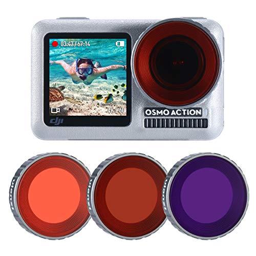 ULANZI OA-9 3er Pack OSMO Action Diving Filter für DJI Osmo Action Kamera Zubehör Super Suit Tauchgehäuse - Rot, Lila, Magenta Tauchfilter für Unterwasservideos und Fotografen