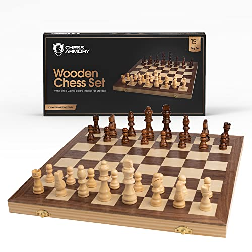 """Chess Armory 15"""" Wooden Chess Set"""