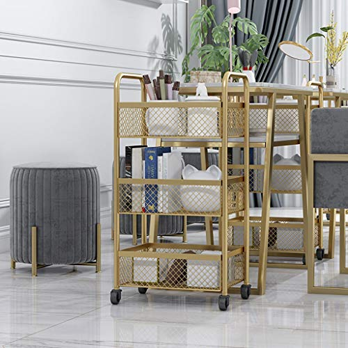 3/4-Regal Metall und Tray Bar, Küche, Mehrzweckwagen, Küche Rolling Bar Cart mit Rädern-Gold (Color : Gold, Size : Three floors)
