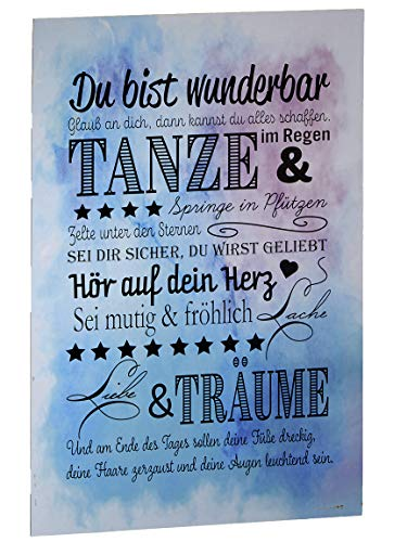 Bada Bing Wandschild Du Bist Wunderbar Ca. 60 x 40 cm Schwarzer Schriftzug Bild Für Kinder Motivation Spruch Schild Geschenk 82