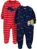 Simple Joys by Carter's Boys' 2-Pack Cotton Footed Sleep and Play, Red Whale/Construction, 3-6 Months