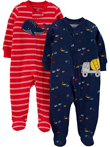 Simple Joys by Carter's Boys' 2-Pack Cotton Footed Sleep and Play, Red Whale/Construction, 3-6 Months Carters Boys Five Pack