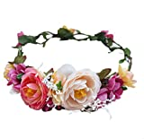 Floral Halo Boho Flower Headband Floral Crown Headpiece Hair Wreath with Ribbon Wedding Party Prom Photos Festival by Vivivalue