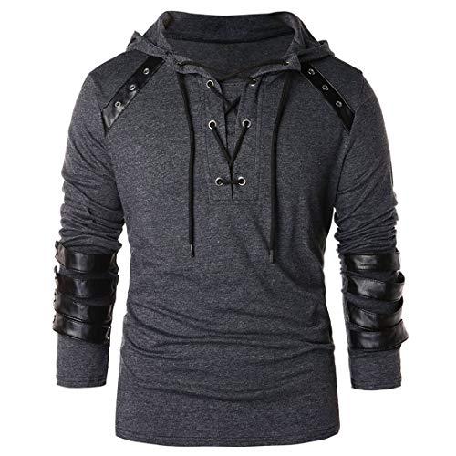 Hoodies - Sudadera con capucha para hombre, diseño casual de patchwork de piel, para otoño C-gray S