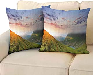 QIAOQIAOLO Pack of 2 Fine Plush Pillowcase Mountain Double-Sided Printing 16x16 inch Majestic Sunrise in Hills Mottled Clouds Fresh Grass Serenity Morning Mist Blue Green Orange