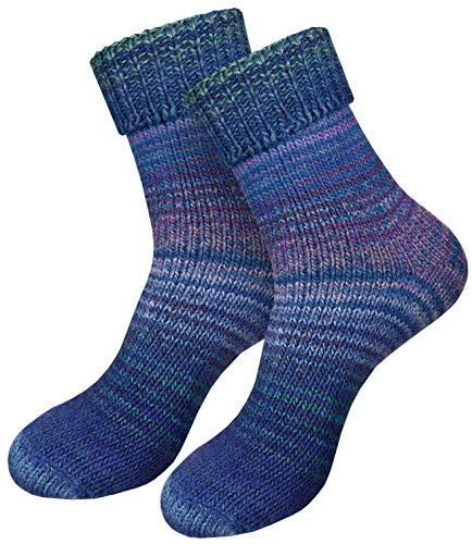 dunaro 2 Paar gestrickte Norweger-Socken Wollsocken Wintersocken kuschelig warm Damen Herren (2 Paar / 35-38 Blau)
