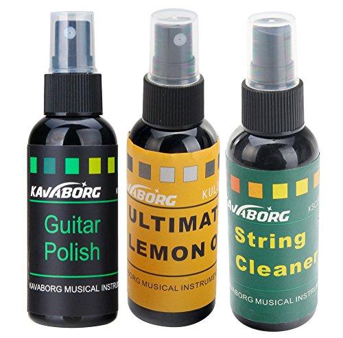 Rocktile GP-Complete Gitarren Pflegeöl SET inkl. Gitarrenpolitur, Saitenreiniger und Grifbrettöl (Guitar Polish, String Cleaner, Lemon Oil, Pumpspray, je 60 ml)