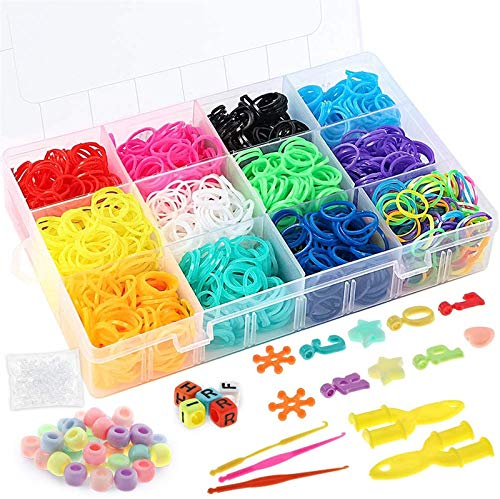 Outuxed 2100+ Muticolor Rubber Bands Refill Kit,Bracelet Making Kit for Kids, 2000 Loom Bands, 48 S Clips, 50 Beads, 3 Crochet Hooks, 2 Y Loom