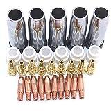 Duradero 40pcs Consumibles con punta de electrodo de escudo Tazas de gas Swir Gas Anillo de Binzel MIG MAG 24KD Soporte de antorcha para MIG MAG Maquina de soldar Reemplazar partes antiguas