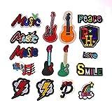Coser O Planchar En Los Parches Apliques Para Ropa, 16pcs set de color de rayo de guitarra musical