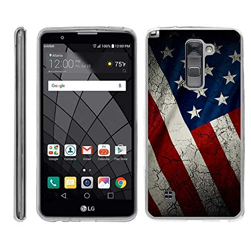 TurtleArmor | Compatible for LG Stylus 2 Case | LG G Stylo 2 Case [Flexible Armor] Flexible Slim Fitted TPU Bumper Case Cover - American Flag