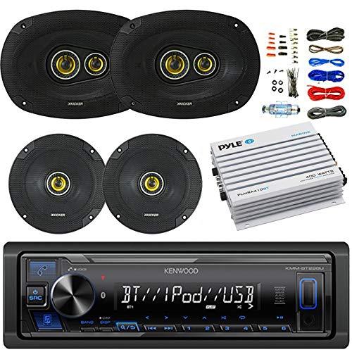 Kenwood Bluetooth AM/FM Car Stereo Receiver Bundle Combo w/2x Kicker 600-Watt 6.5 Inch 2-Way Speakers + 2 x 900W 6x9 3-Way Coaxial Speakers + 4-Channel Amplifier W/8G Installation Kit
