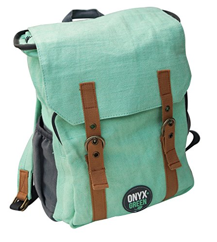 Onyx and Green Sustainable Rayon Leaf and Jute Backpack (MINT)