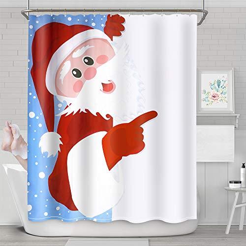 NIBESSER Duschvorhang 180x180 und 180x200 Anti-Schimmel Wasserabweisend Shower Curtain mit 12 Duschvorhangringen 3D Digitaldruck Weihnachten Motiv mit lebendigen Farben (180x180cm, Weihnachten 12)