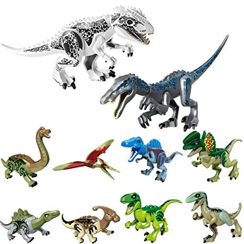 LTCtoy 10pcs Dinos Toy, Included 2 Large Size Buildable Dinosaur Building Blocks Figures with Movable JawsT Rex Baryonyx