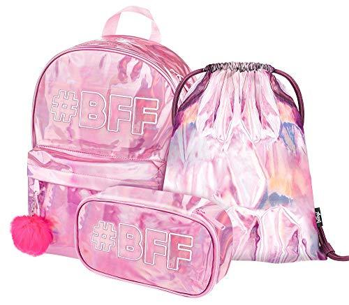 Holo Schulrucksack Set Mädchen 3 Teilig, Glitzer Schultasche ab 3. Klasse, Grundschule Ranzen mit Brustgurt, Ergonomischer Schulranzen (Fun #BFF)