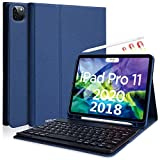 iPad pro 11キーボード ケース Apple Pencil 2 ワイヤレス充電対応 ペンシル収納 ペンシルホルダー付き 着脱タイプキーボード オートスリープ機能 スタンド付き PU レザー Bluetoothワイヤレス キーボード ケース (iPad Pro 11ブルー)