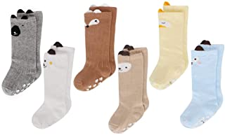 6 Pares de calcetines largos de altos para bebé niñas Medias de algodón de punto princesa infantiles niña