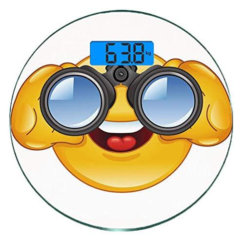 Digitale Präzisionswaage für das Körpergewicht Runde Emoji Ultra dünne ausgeglichenes Glas-Badezimmerwaage-genaue Gewichts-Maße,Smiley Face mit Teleskop-Fernglas-Gläsern, die äußeren Karikatur-Druck,