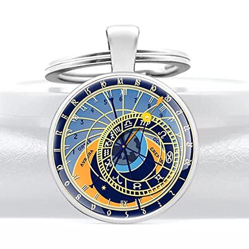 MINTUAN Llavero de Reloj clásico, Llavero de cabujón de Cristal, Llavero de Coche, Accesorios, Bolsa, Colgante, joyería, Regalo