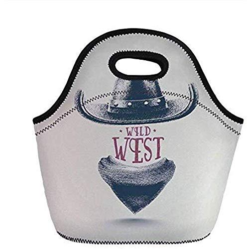Western, grafisch ontwerp van Wild West Cowboy Hoed en Sjaal in Vintage Kleuren American New Old, Grijs Zwart Rood, voor Kids Adult Thermal Tote Bags