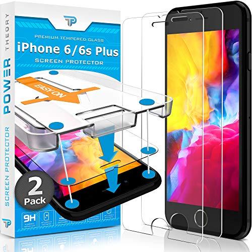Power Theory Panzerglas für iPhone 6s Plus & iPhone 6 Plus [2 Stück] - Schutzfolie mit Schablone, Panzerglasfolie, Panzerfolie, Glas Folie, Displayschutzfolie, Schutzglas