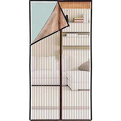 ALSGON Moskitonetz Magnetisch für Türen Fenster, besserer Halt mit automatischem Schnallen aus Polyester Tür Fenster Tür Tür. 120x210cm(47x83in) braun