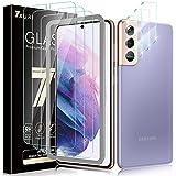 TAURI 6 Pack Protector de Pantalla Samsung Galaxy S21 5G,3 Pack Cristal Templado y 3 Pack Protector de Lente de cámara, Doble protección, Kit de Instalación Incluido