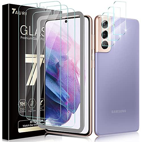 TAURI 6 Pezzi Vetro Temperato Samsung Galaxy S21 5G 3 Pezzi Pellicola Protettiva Galaxy S21 + 3 Pezzi Fotocamera Posteriore Pellicola - Supporta Fingerprint HD Schermo Protettivo Kit D'Installazione