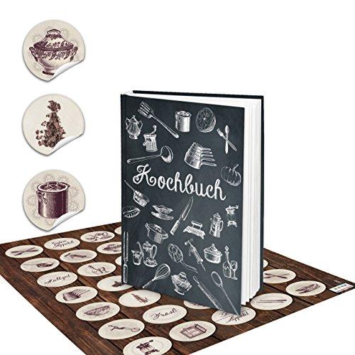 Set receptenboek klein om zelf te schrijven, zwart, wit, vintage, nostalgie, DIN A5 + bruin beige keukenlabels, kookboek, boek, met recepten, lievelingsrecepten, als geschenk keuken koken
