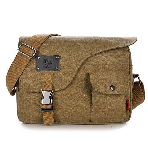Owbb Retro Herren Boy Leinwand Umhängetasche Rucksack Größe:31*23*7cm (BDJM-01) +2 gratis geschenke