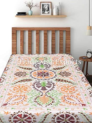 Trade Star Funda de cama vintage Suzani, colcha bordada india, ropa de cama de algodón hecha a mano, manta decorativa floral, tamaño individual, regalo de inauguración de la casa (patrón 3)