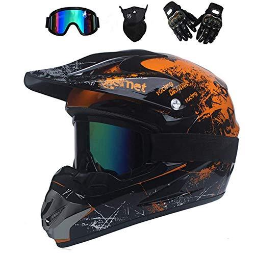 AMITD Motorrad Crosshelm Schwarz Grün Motocross Helm Set mit Brille (4 Stück), Fullface MTB Helm Kinder Cross Helm Motorradhelm Fahrrad Enduro Downhill BMX Off Road ATV, Orange, S(52~53)