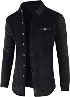 Men Windbreaker Autumn Winter Casual Fashion Pure Color Coat Button Down Classic Velvet Jacket Outwear Slim Fit Long Sleev...