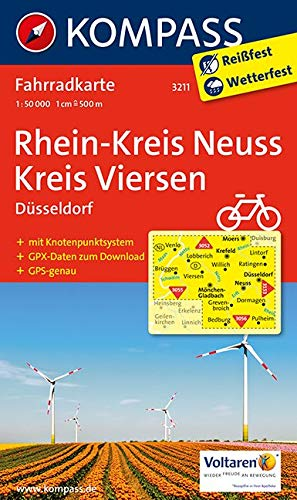 KOMPASS Fahrradkarte Rhein-Kreis Neuss - Kreis Viersen: Fahrradkarte 1:50000 mit GPX-Daten zum Download. (KOMPASS-Fahrradkarten Deutschland, Band 3211)