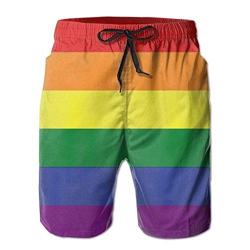 ZrGo Hombres Bandera LGBT Gay Pride Pantalones Cortos de Surf de Playa de Verano de Secado rápido Troncos de natación Pantalones Cortos de Carga, tamaño L