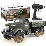 Camión Militar RC, Escala 1:16 2.4G 6WD camión Pesado de Control Remoto para vehículos Todoterreno, Juguete de Coche de proporción Completa para niños y Adultos