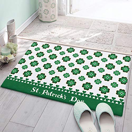 Bedroom Plush Area Mat Fluffy, St. Patrick's Day Retro Celtic Knots Shag Area Rug for Living Room, Soft and Absorbent Doormat for Indoor Couch Sofa Luxury Accent Home Decor Mat, Green Clovers 18'x30'