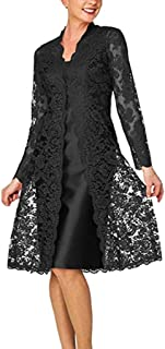 Fanteecy Mother of The Bride Elegant Dresses Formal - Women's 2 Pieces Tea Length Dress and Jacket with Plus Size