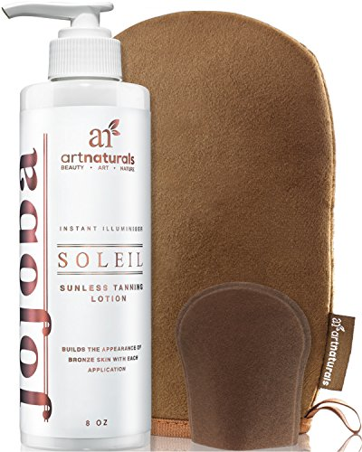 ArtNaturals Sunless Self-Tanner Lotion Set - (8 Fl Oz / 236ml Lotion and Mitt) - Buildable Bronze...