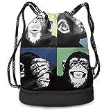OKIJH Mochila Mochila de Ocio Mochila con cordón Mochila Multifuncional Bolsa de Gimnasio Gymsack Drawstring Bag Sackpack Funny Chimpanzee Sport Cinch Pack Simple Bundle Pocke Backpack For Men Women
