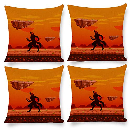 Pack 4, Pillow Covers Throw Pillow Cases Home Decor 4pcs Cartoon Wolf Orange, Decorative Square Pillow Cushion Pillowcase for Home Living Room Bed Sofa Car Nursery Patio Yard Decal
