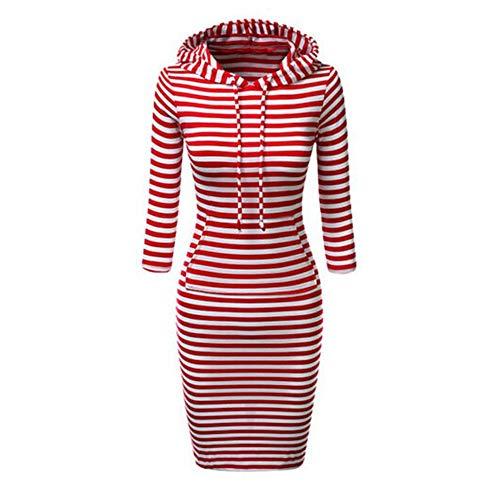 YUNGYE Femmes Sweat-Shirt À Manches Longues en Coton avec Cordon De Serrage À Capuchon Cordonnet Robes Femmes Automne Hiver Chaud (Color : Red, Size : M)